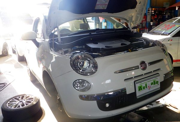 フィアット500 車検&ブレーキパッド交換&冷却水漏れ